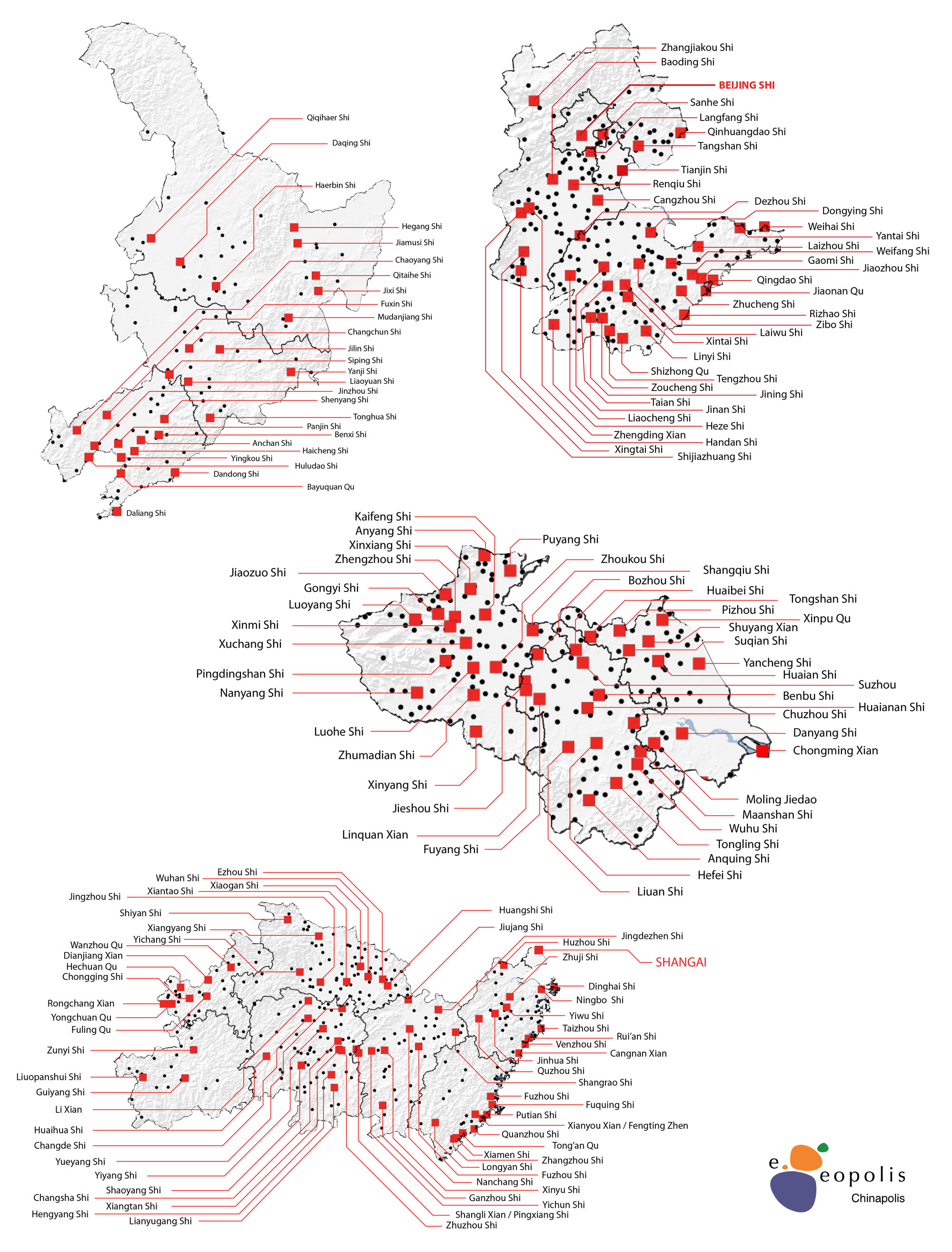 Détails des agglomérations de la Chine du Sud en 2010