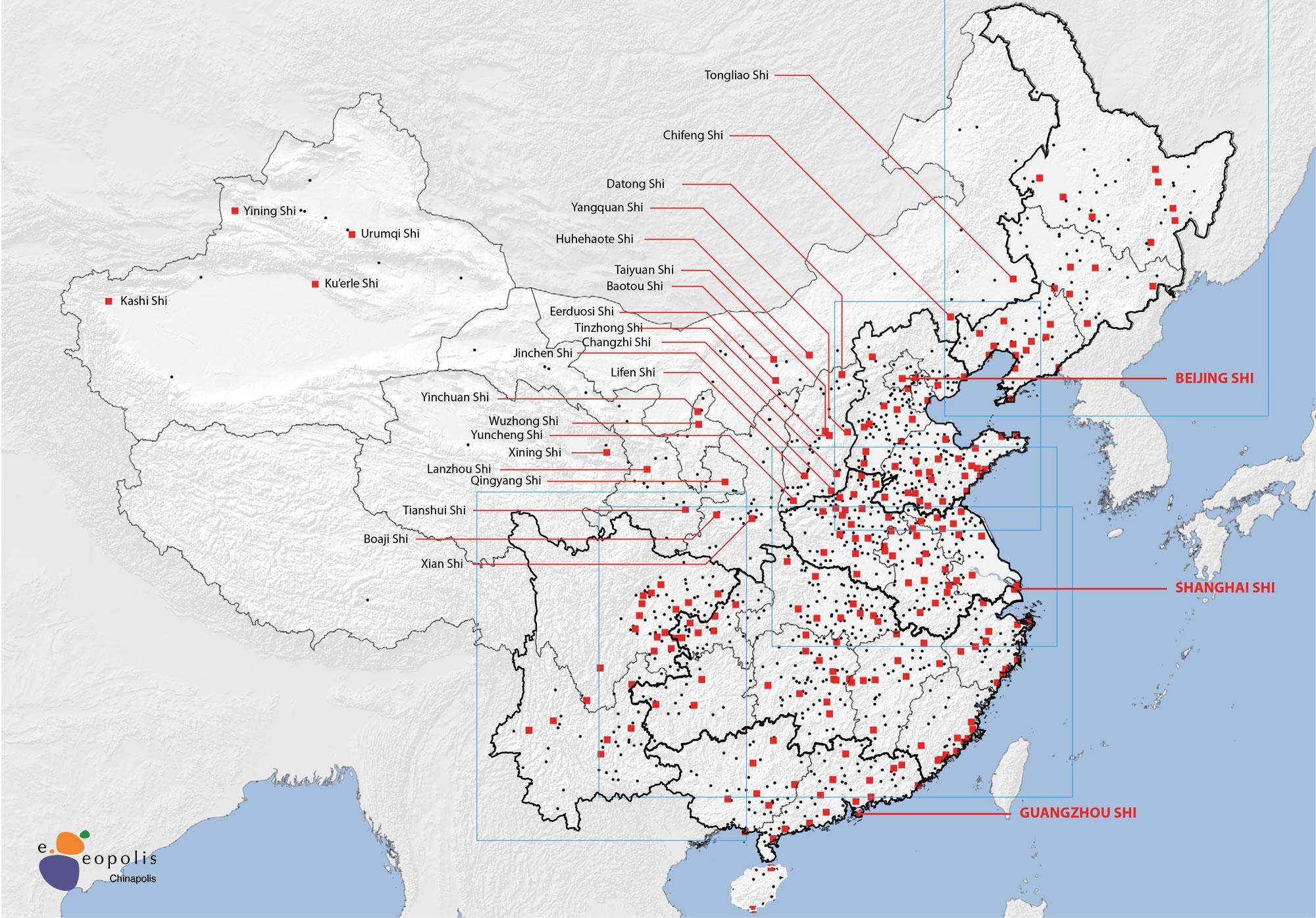 Geolocalisation des agglomérations de a Chine en 2010